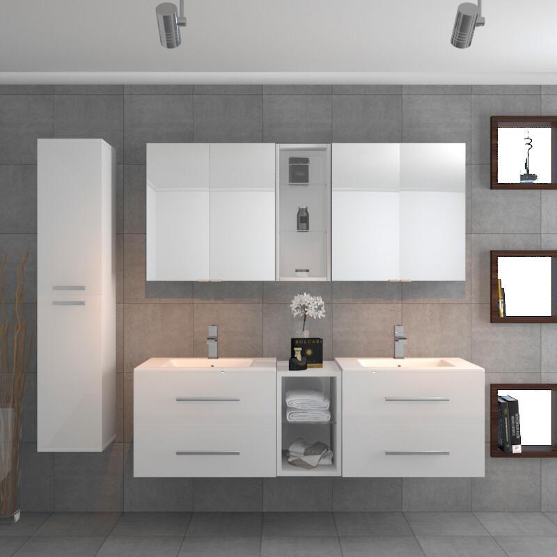 SONIX DOUBLE VANITY BATHROOM SUITE WHITE