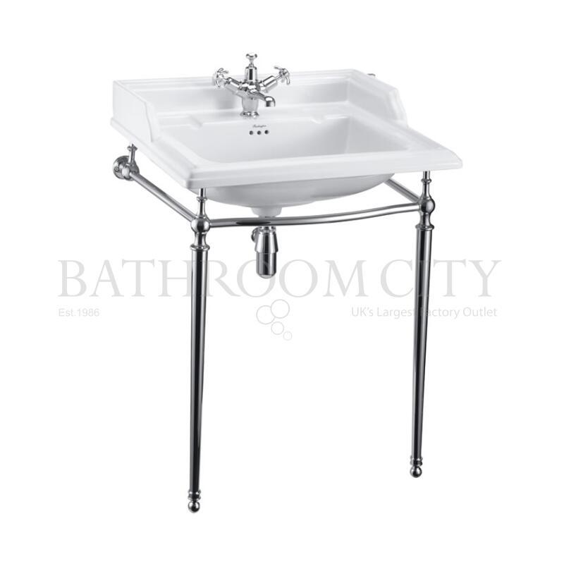 Classic 650 Rectangular basin and Chrome Wash stand 1TH