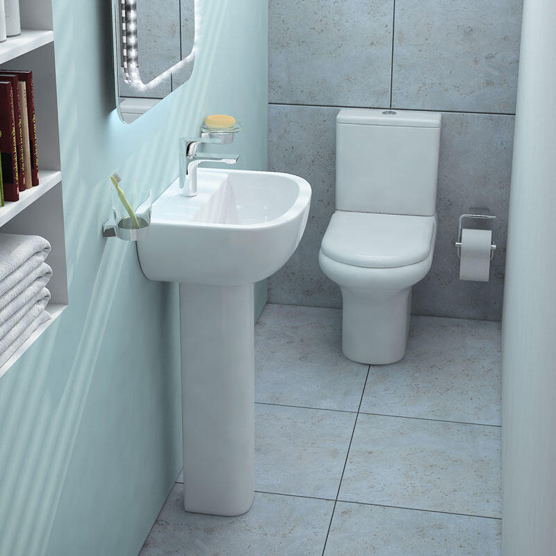 Rak Compact Deluxe 4 Piece Bathroom Suite with Soft Close Seat