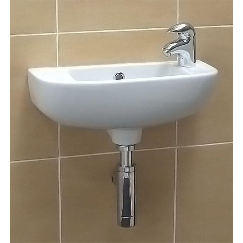 RAK Compact White Slimline Basin with 1 Right Hand Tap Hole