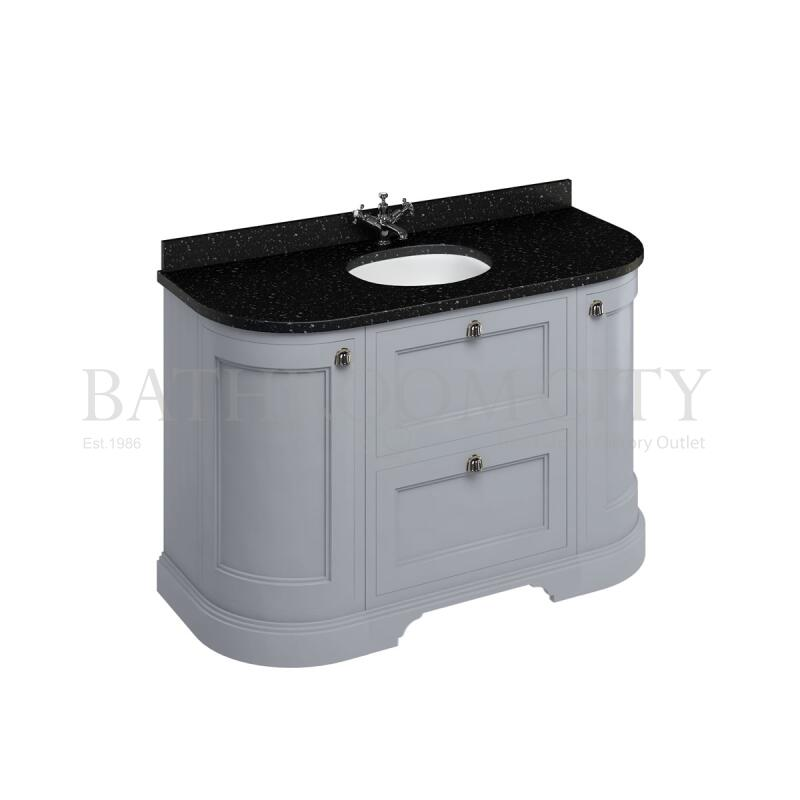 Freestanding 134 Curved Vanity Unit with drawers - Grey