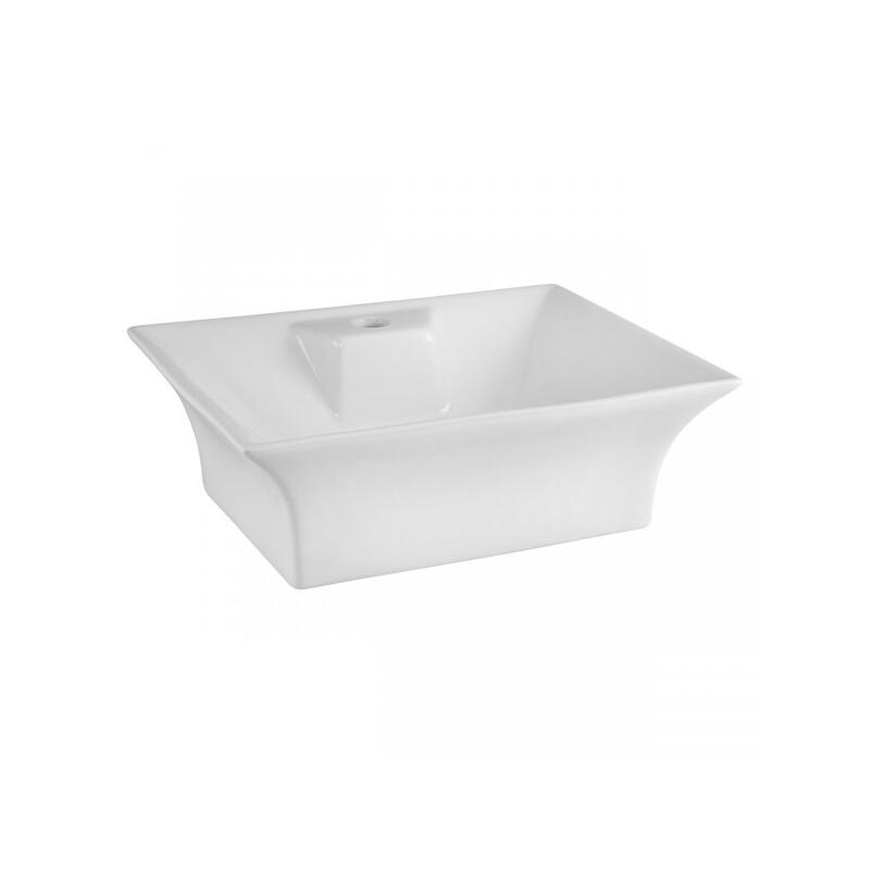 Flared Rectangular 490mm Vessel 1 tap hole wash basin