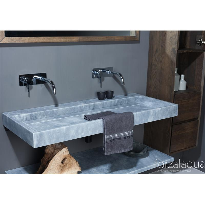 Belleza 1000mm Natural Stone Basin No Taphole Cloudy Marble