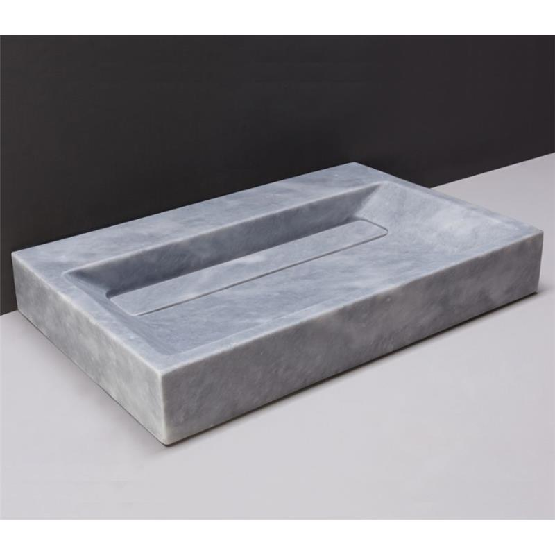 Belleza 600mm Natural Stone Basin No Taphole Cloudy Marble