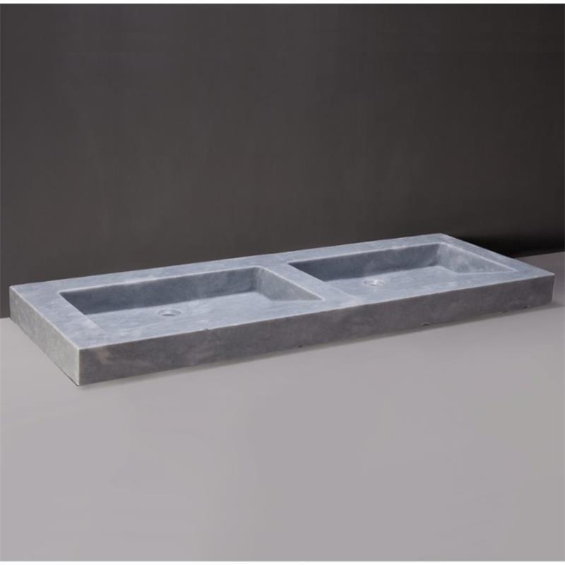 Palermo Doppio Natural Stone Basin - Cloudy Marble 0 Tap Hole