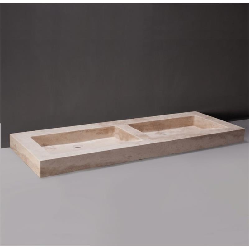 Palermo Doppio Natural Stone Basin - Travertine 0 Tap Hole