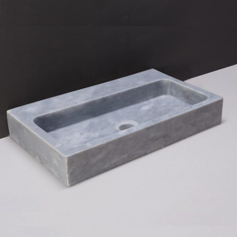 Taranto Natural Stone Basin - Cloudy Marble - No Tap Hole