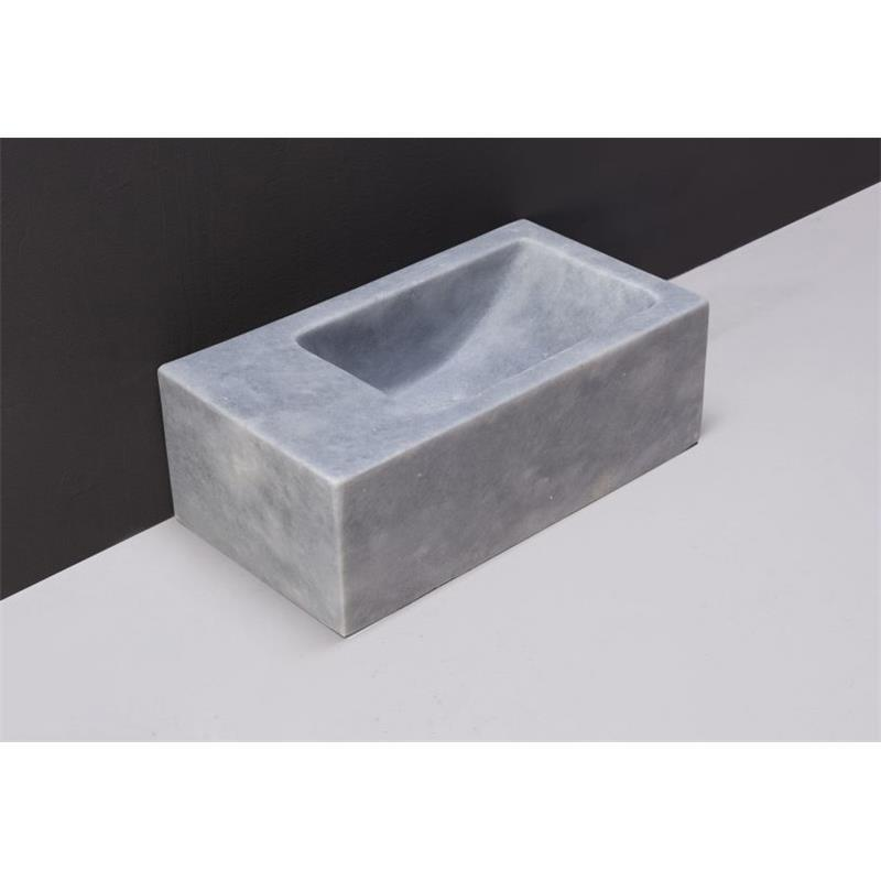 Venetia XS Natural Stone Basin - Cloudy Marble (Left) No Tap Hole