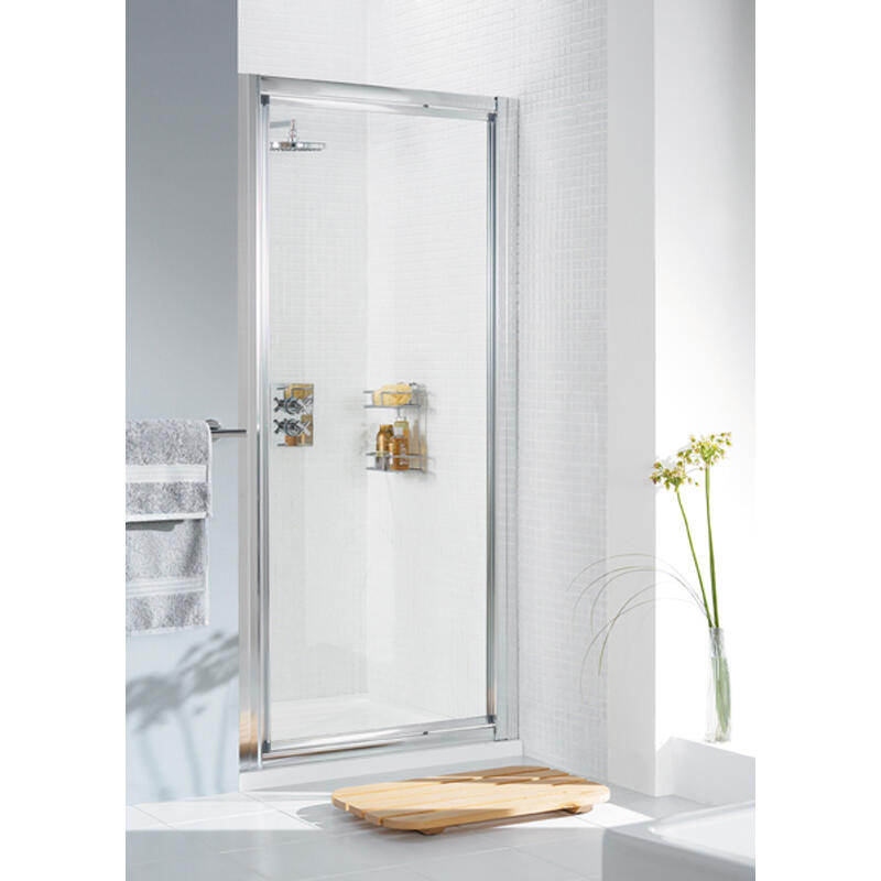 WHITE FRAMED PIVOT DOOR 800 x 1850 & 700 SIDE Panel