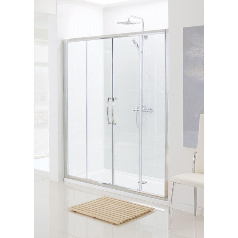 SILVER SEMI FRAMED DOUBLE SLIDER DOOR 1200