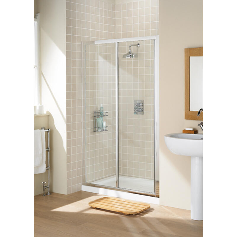 WHITE FRAMED SLIDER DOOR 1100 x 1850 & 700 SIDE PANEL
