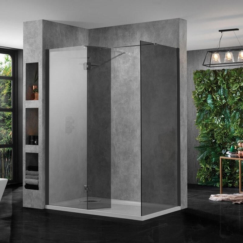 large Walk In Shower Enclosure Black Glass 10mm inc Tray and Return Panel