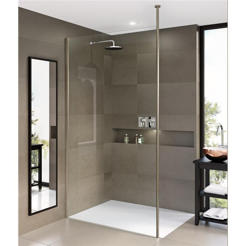Matki One Wet Room Panel 500mm with Black Frame and Ceiling Brace Bar