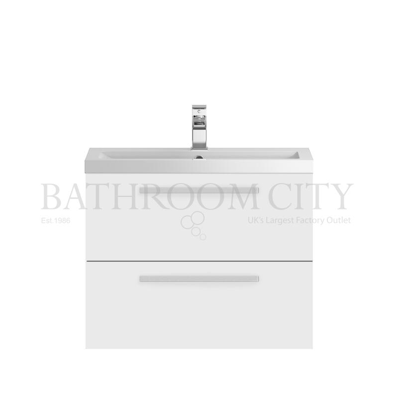 718mm 2 Drawer WH Vanity and Basin White
