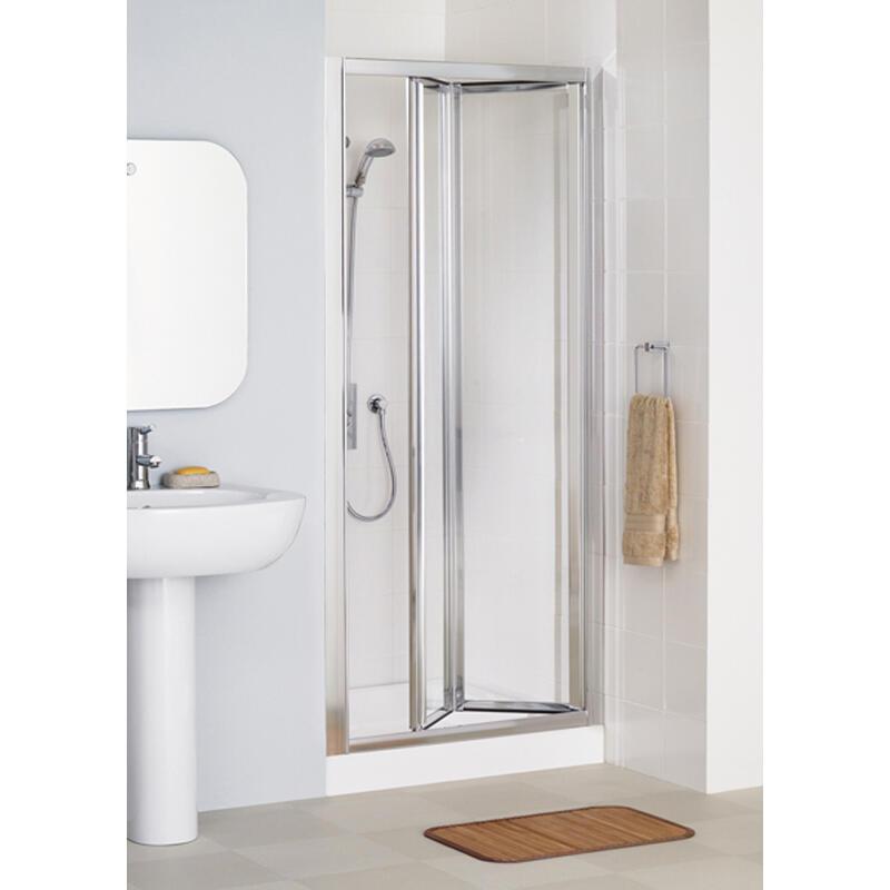 SILVER FRAMED BI-FOLD DOOR 900 x 1850 & 700 SIDE Panel