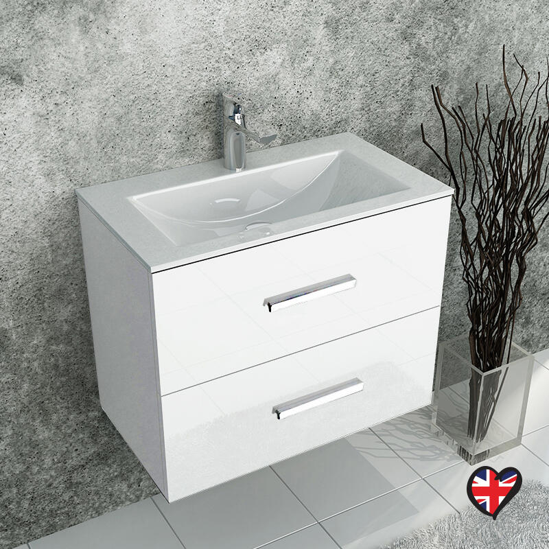 SONIX WHITE WALL HUNG 610 UNIT 2 DRAWERS AND CERAMIC BASIN