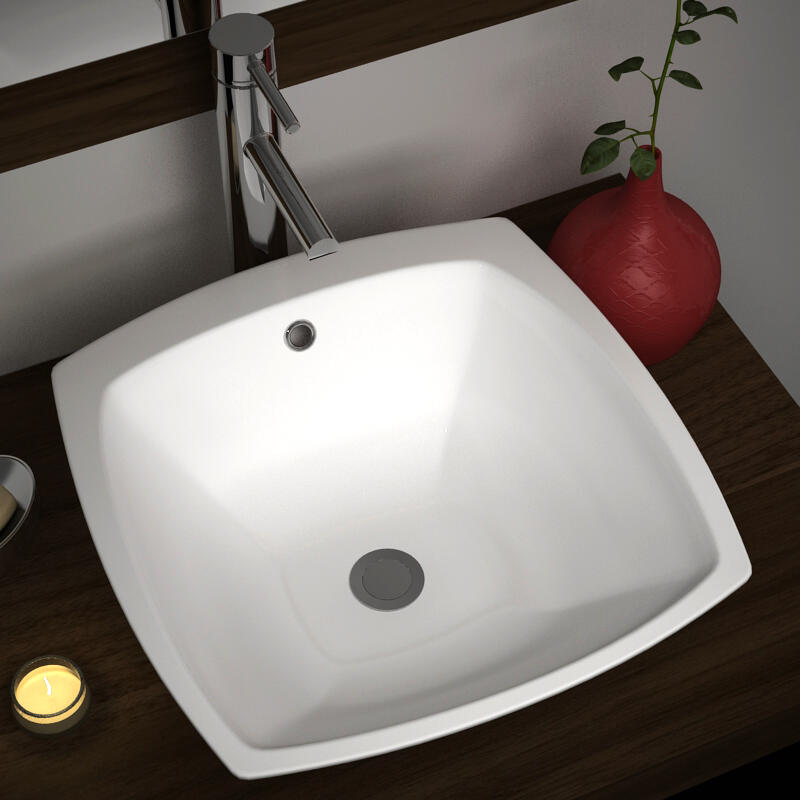 Tilly Square Porcelain Counter Top Basin with 0 Tap Hole