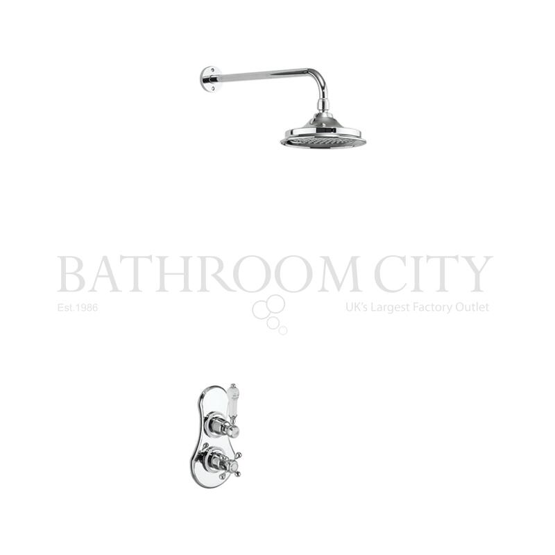 Severn Thermostatic Single Outlet Concealed Shower Valve with Fixed Shower Arm (6 inch Shower Head)