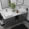 Sonix 1500 Glass Top Wall hung Vanity storage Unit inc basins and taps curved Wall Hung Contemporary Bathroom