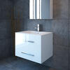 800 Wide white wall hung basin and drawers