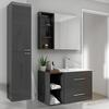 Wall hung grey bathroom vanity unit and basin