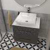 Luxury wall hung design Sonix grey 600 wall hung bathroom unit with white glass top and basin