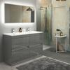 Pemberton 1200mm Grey freestanding handleless 4 drawers double basin unit - 179056