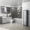 Grove 1500 Vanity Suite and Straight Shower Bath Platinum Grey - 179569