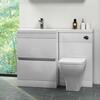 WHITE L SHAPED COMBINATION VANITY UNIT WITH TOILET AND BASIN