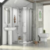 Small Bathroom suite Corner Shower Basin and toilet