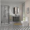 Bathroom Shower Suite with grey vanity with 2 draws and toilet