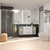 Shower Suite in White with Wall Hung 1200 unit with glass shelfs and 2 draws