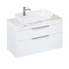 Britton Shoreditch Wall Hung Double Drawer 1000mm Vanity Unit with Yacht Countertop Basin White