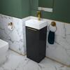 SMALL, GREY, VANITY UNIT, WHITE BASIN, GOLD HANDLE, GOLD TAP