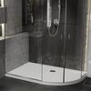 Room scene showing raised right hand offset quadrant stone resin anti-slip shower tray
