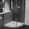 Room scene showing quadrant corner anti-slip stone resin shower tray