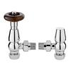 Chrome Chelsea Angled Traditional Bathroom Thermostatic Radiator Valves & Lock Shield