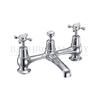 Claremont Two tap hole bridge mixer with swivelling spout with plug and chain waste