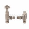 FLUTED ANTIQUE BRASS ANGLED THERMOSTATIC RADIATOR VALVES WITH LOCKSHIELD