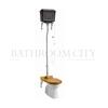 Traditional High level toilet pan with Black Aluminium cistern and flush kit