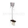 Traditional High level toilet pan with Brushed Aluminium cistern and flush kit