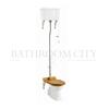 Traditional High level toilet pan with white ceramic cistern and flush kit