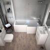 Patello White Shower L shape Bath Suite