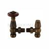 ROUNDED FLUTED ANTIQUE BRASS ANGLED THERMOSTATIC RADIATOR VALVES WITH LOCKSHIELD