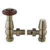 Satin Nickel Chelsea Angled Traditional Bathroom Thermostatic Radiator Valves & Lock Shield