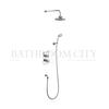 round Trent Thermostatic Two Outlet Concealed Diverter Shower Valve , Fixed Shower Arm, Handset & Holder with Hose 6inch head multi function