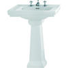 Astoria Deco Large Basin 640mm White And Large Pedestal White straight Modern