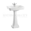 straight Contemporary Basin 58cm and Pedestal option of 1,2,3 tap hole
