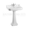 straight Edwardian Basin 61cm and Regal pedestal option of 1,2,3 tap hole