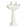 Granley Deco 55cm White Basin Two Tap Hole And Full Size Pedestal